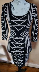 Dresses & Skirts - Black and white stripes sweater dress